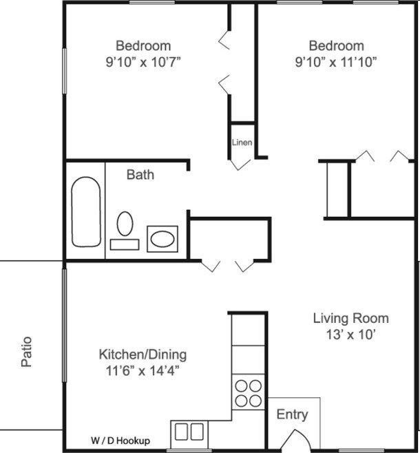 2 Bedrooms 1 Bathroom Apartment for rent at Estates At Crystal Bay in Indianapolis, IN