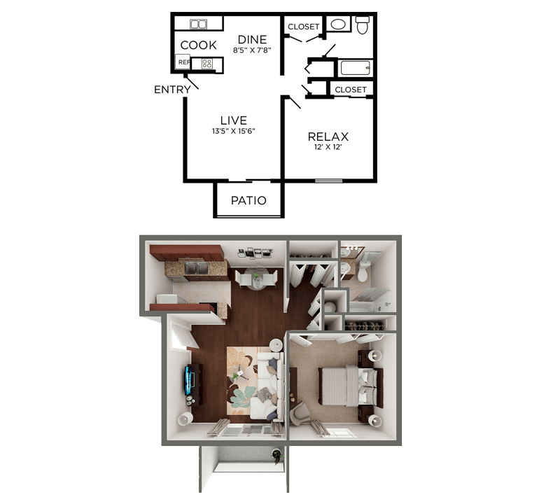 1 Bedroom 1 Bathroom Apartment for rent at Crosswinds Apartments in Wilmington, NC