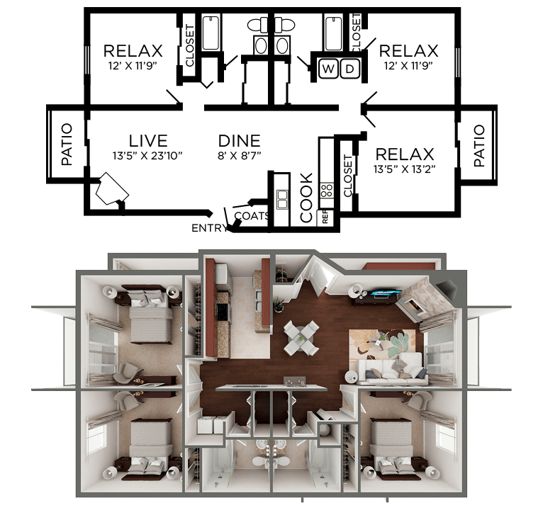 3 Bedrooms 2 Bathrooms Apartment for rent at Crosswinds Apartments in Wilmington, NC