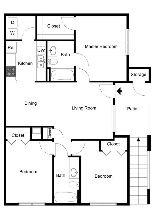 3 Bedrooms 2 Bathrooms Apartment for rent at Ivy Hollow in Charlotte, NC