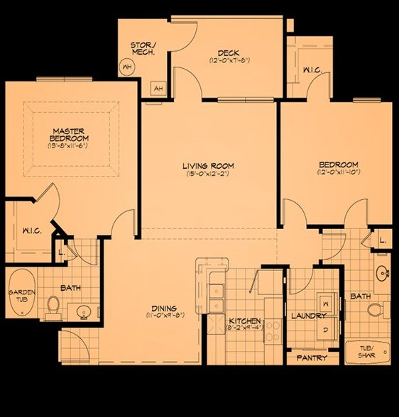 2 Bedrooms 2 Bathrooms Apartment for rent at Cliff Creek Apartments in Fayetteville, NC