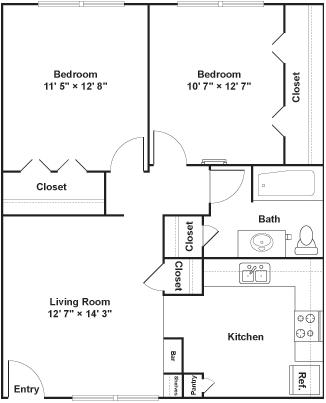 2 Bedrooms 1 Bathroom Apartment for rent at Luna Blanca {Casa Feliz} in Dallas, TX