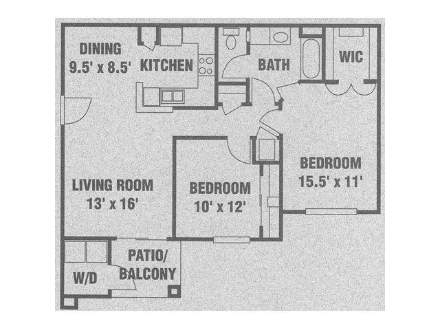 2 Bedrooms 1 Bathroom Apartment for rent at Eagle Ridge Apartments in San Antonio, TX