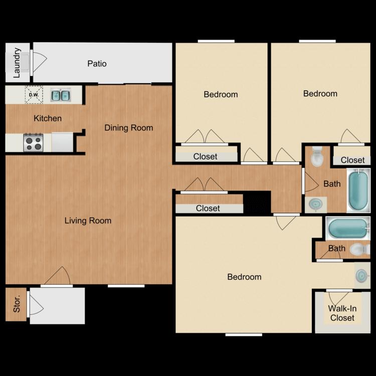 3 Bedrooms 2 Bathrooms Apartment for rent at Ashler Oaks in San Antonio, TX