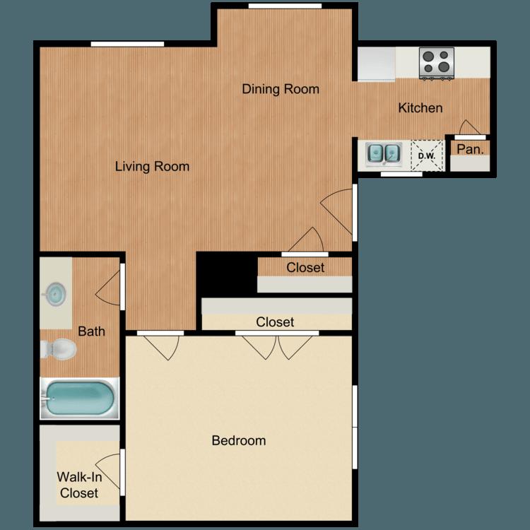 1 Bedroom 1 Bathroom Apartment for rent at Veranda Apartments in San Antonio, TX