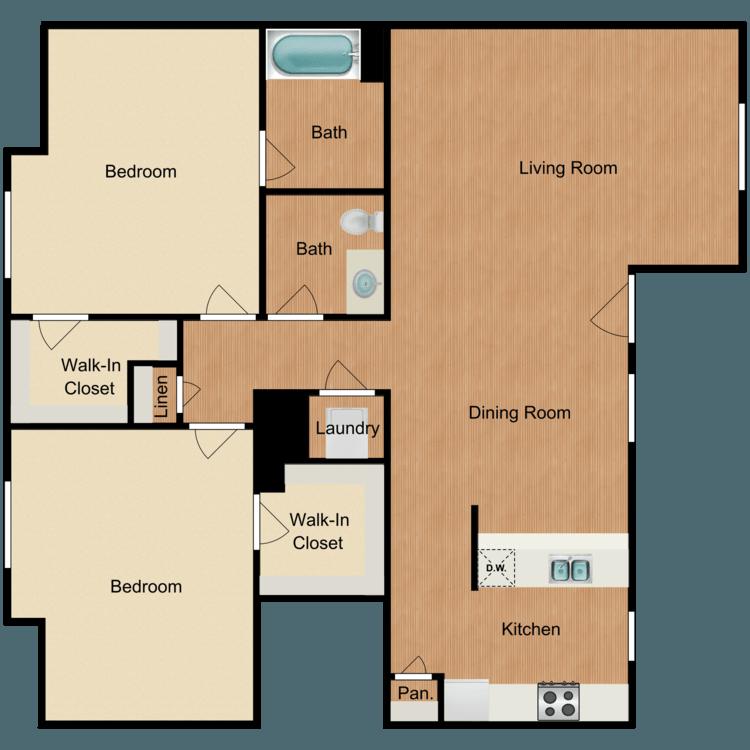 2 Bedrooms 2 Bathrooms Apartment for rent at Veranda Apartments in San Antonio, TX