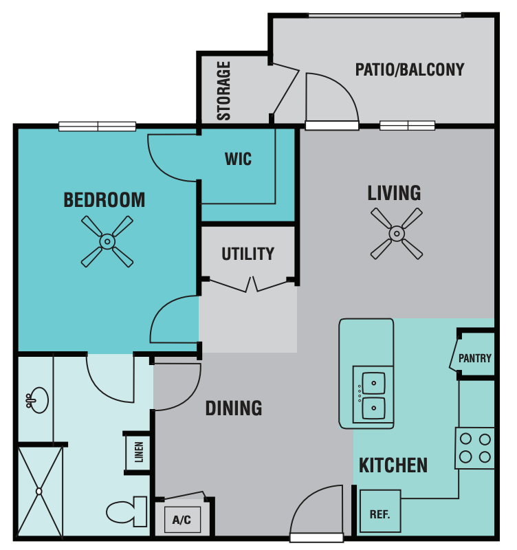 1 Bedroom 1 Bathroom Apartment for rent at Ovation Independent Senior Living in Brownsville, TX