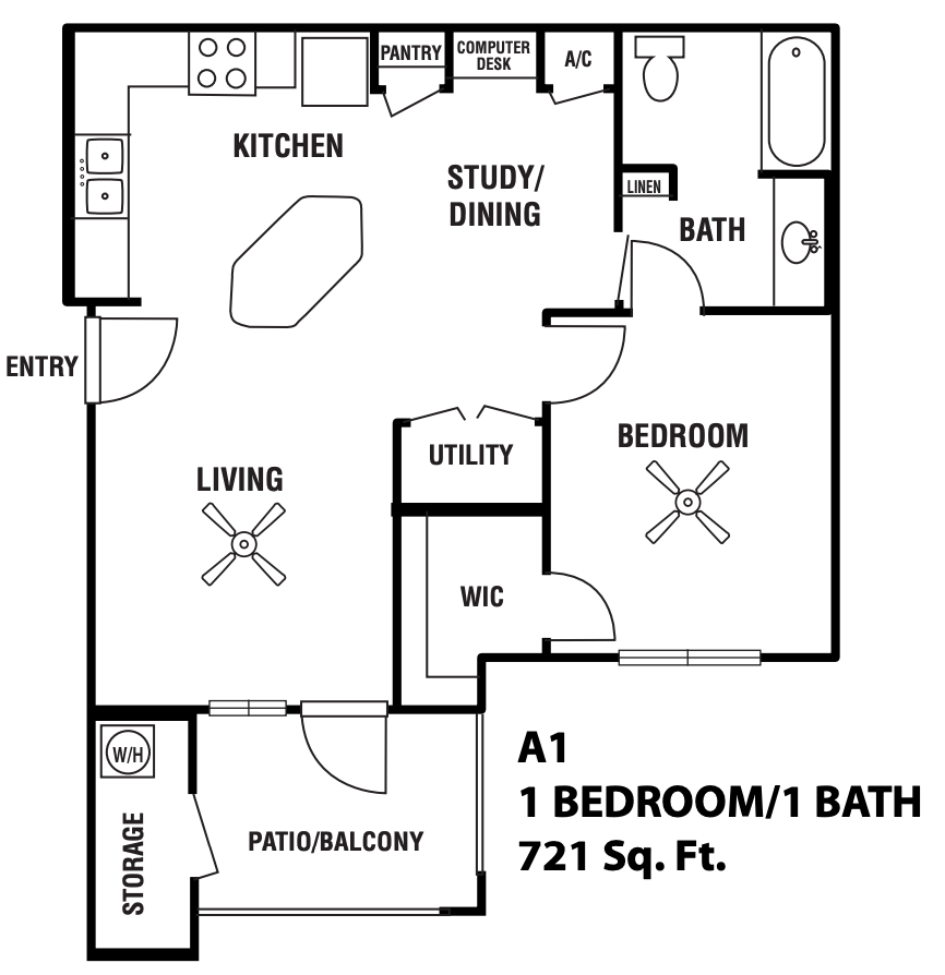 1 Bedroom 1 Bathroom Apartment for rent at Capella Apartment Homes in Brownsville, TX