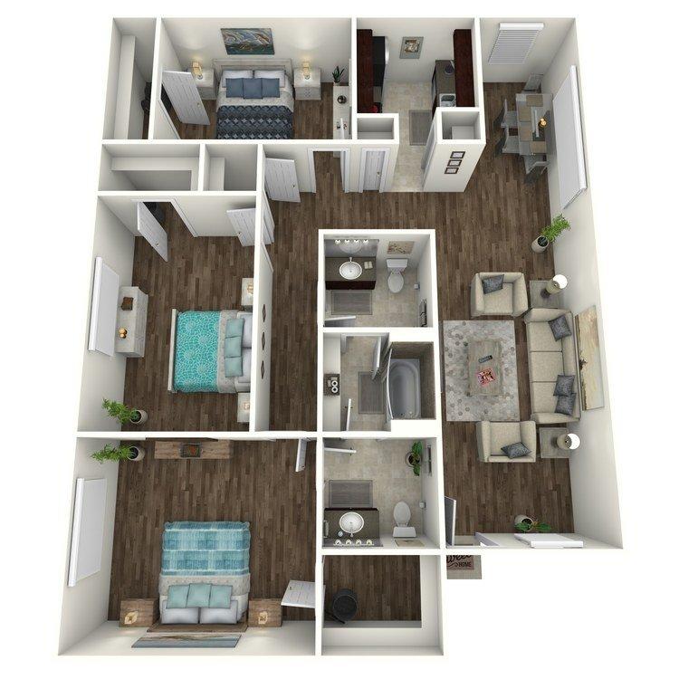 3 Bedrooms 1 Bathroom Apartment for rent at Terrace Villas in Houston, TX