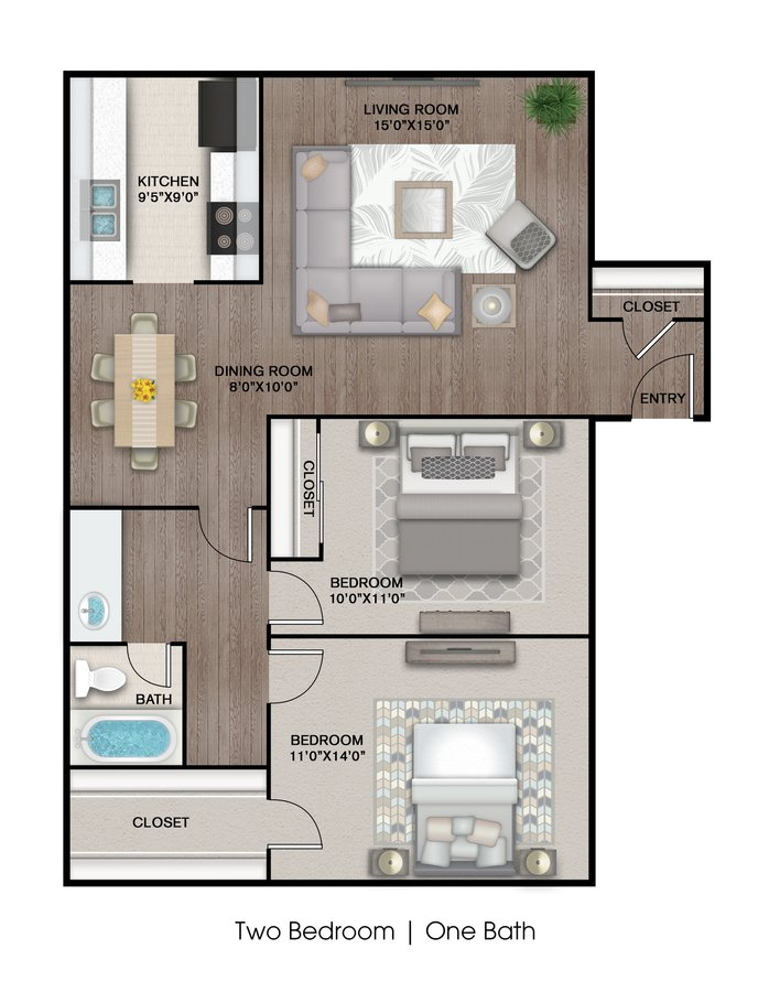 2 Bedrooms 1 Bathroom Apartment for rent at The Estates at Avenstar Apartments in Houston, TX