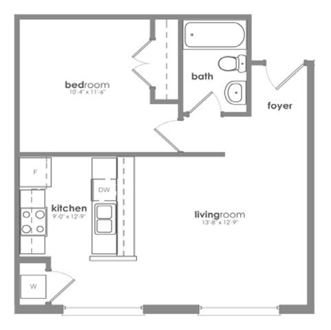 1 Bedroom 1 Bathroom Apartment for rent at District Square Apartments in Richmond, VA