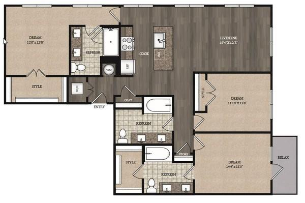 3 Bedrooms 3 Bathrooms Apartment for rent at The Marling Apartments in Madison, WI