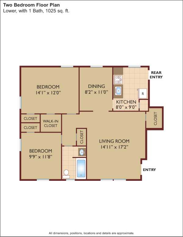 2 Bedrooms 1 Bathroom Apartment for rent at Middlebrook at Monmouth in Ocean, NJ