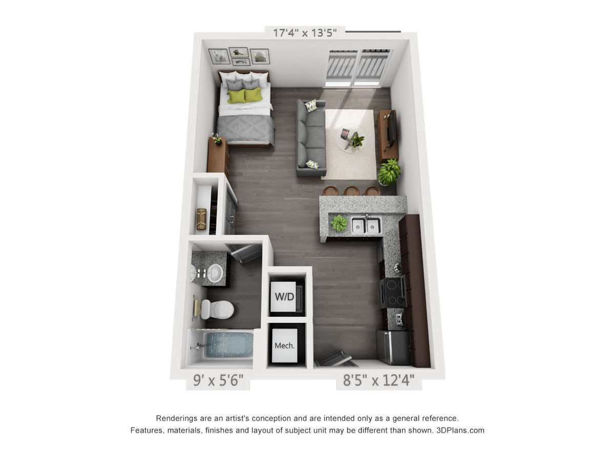 Studio 1 Bathroom Apartment for rent at Nickel Plate Flats in Frankfort, IN